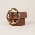 "1 3/4"" inch ""Vintage buckle belt in hand-dyed walnut"