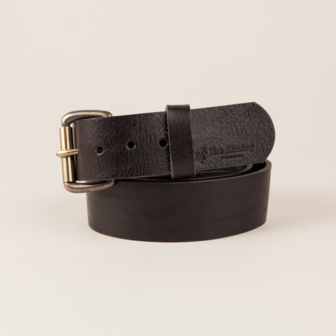 Vintage leather belt with hand rubbed antique brass buckle