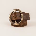 Vintage bohemian leather belt with large brass buckle | hand distressed leather and brass buckle