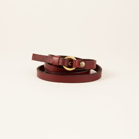 "1/2"" inch Hand sewn ""X Stitched"" sing ring skinny belt in Ox-Blood"