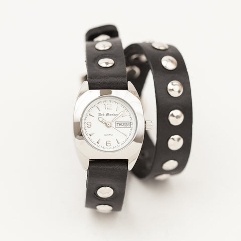 Ladies Black Studded Double Wrap Bullet