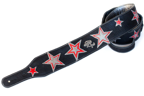Custom Shop Red Monkey leather guitar strap with stars