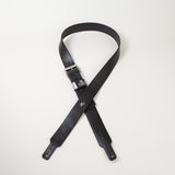 Black leather guitar strap with black stitch