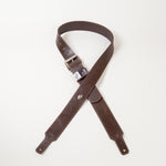 "Chocolate leather guitar strap in 1 3/4"" inch"