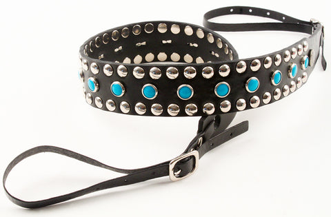 Circus Camera Strap - Black w/ Silver & Turquoise Studs