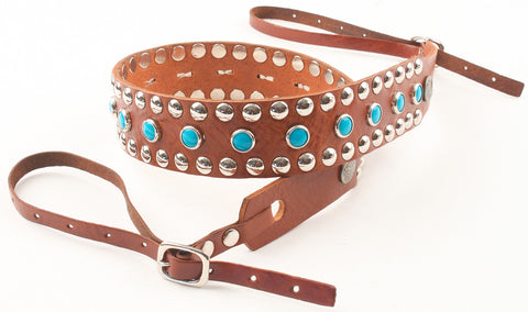 Circus Camera Strap - Walnut w/ Silver & Turquoise Studs