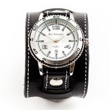 Black leather wide cuff watch with stitch