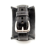 Wide Leather cuff style watch band in black