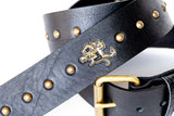 LIVE WIRE Studded Leather Guitar Strap (Antique Brass)
