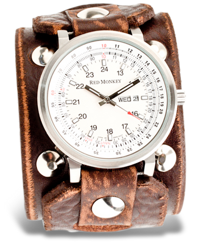 Wide leather watch strap | Cuff watchbanc