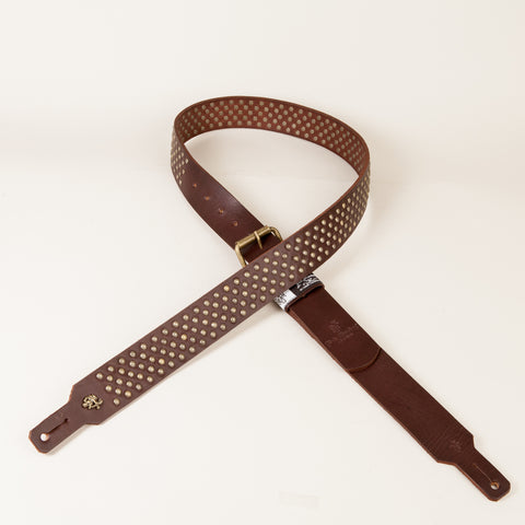 BOOTLEG GUITAR STRAP (Chocolate/Antique brass)