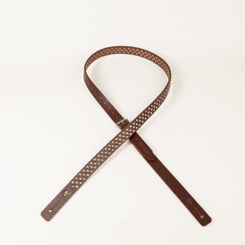 Mini Bootleg Guitar Strap (Chocolate/Antique Brass)