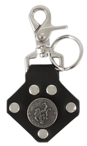 Red Monkey Badge Key Chain (Leather)