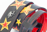 Starchild II leather custom guitar strap with stars