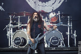 "Tom Araya of Slayer with his 3"" inch Red Monkey leather guitar strap."