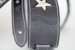 Cool leather custom guitar strap hand-made by Red Monkey
