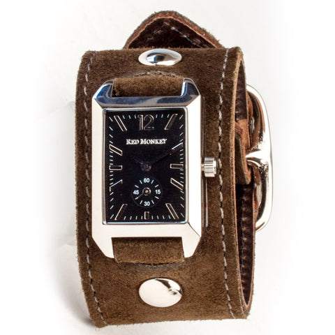 Ladies Brown Suede Crawford (Black Dial)