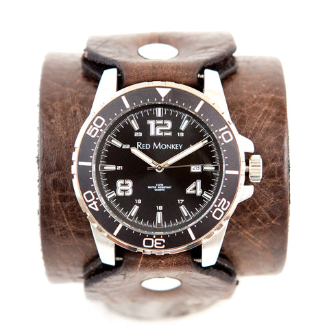 "The Jack 2 5/8"" distressed leather watchband by Red Monkey Los Angeles."