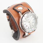 "Leather flip through cuff watch in 2"" inch width."