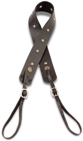 Camera Strap - Black w/ Brass Studs