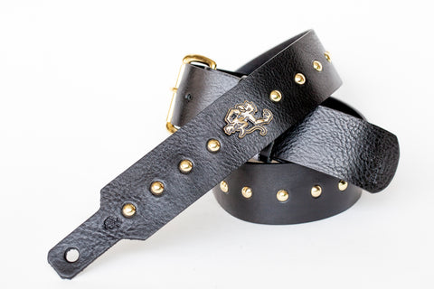 Gold studded leather guitar strap with buckle