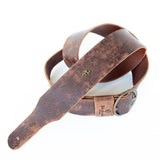 Distressed leather guitar strap with vintage buckle