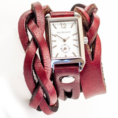 Women's Wrap watch with braid by Red Monkey Designs and made in Los Angeles
