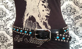 Studded Leather Cowboy Belt (Circus Collection) - Black & Turquoise