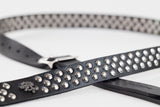 Thin Silver Studded Leather guitar strap by Red Monkey