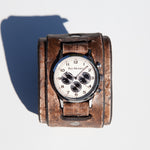"2.5"" inch Wide leather cuff watch by Red Monkey in Relic distressed leather"