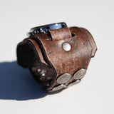 Cool wide cuff watch with snap adjustment in vintage distressed leather