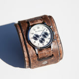 Rock N' Roll cuff watch with limited edition chronograph watch face in hand rubbed vintage leather