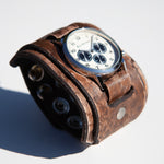 Limited Edition wide leather cuff watch by Red Monkey Designs by Torry Pendergrass
