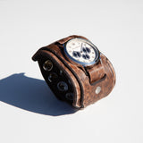 "WHISKEY TOWN RELIC COLLECTION | Whiskey Bent distressed 2.5"" inch layered leather cuff watch"