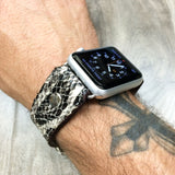 Apple watch band made out of Python looking leather