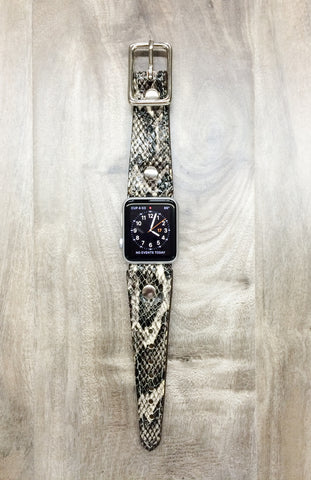 Faux python leather watch band for Apple watch.