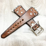 "Red Monkey Custom Apple Watch band-""The Rustic"" (Hand Dyed Tobacco)"