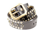 STUDDED LEATHER COWBOY BELT (Circus Collection) - Black & Gold