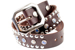 STUDDED LEATHER COWBOY BELT (Circus Collection) - Espresso & Mosaic Blue