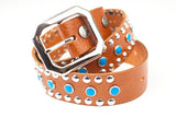 Circus Collection Belt - Cognac & Turquoise