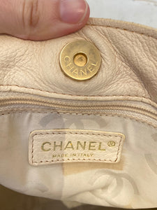 CHANEL Bone Leather Shoulder Purse