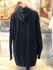 MM6 Maison Margiela Black Cotton Graphic Hoodie Dress, Size L/XL
