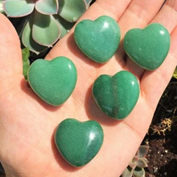 10 Carved Green Aventurine Heart Gemstones - Chakra Healing Store