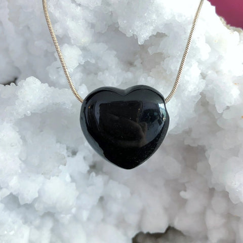Black Obsidian Heart Jewelry Set - Chakra Healing Store