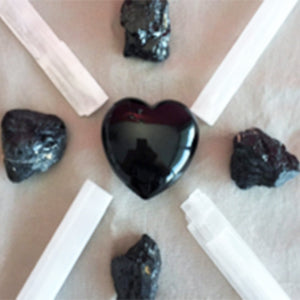 Black Obsidian Crystal Protection and Cleansing Grid Set