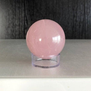 Rose Quartz Crystal Ball with Stand, Small Gazing Gemstone Sphere for Scrying, Meditation, Bohemian Decor