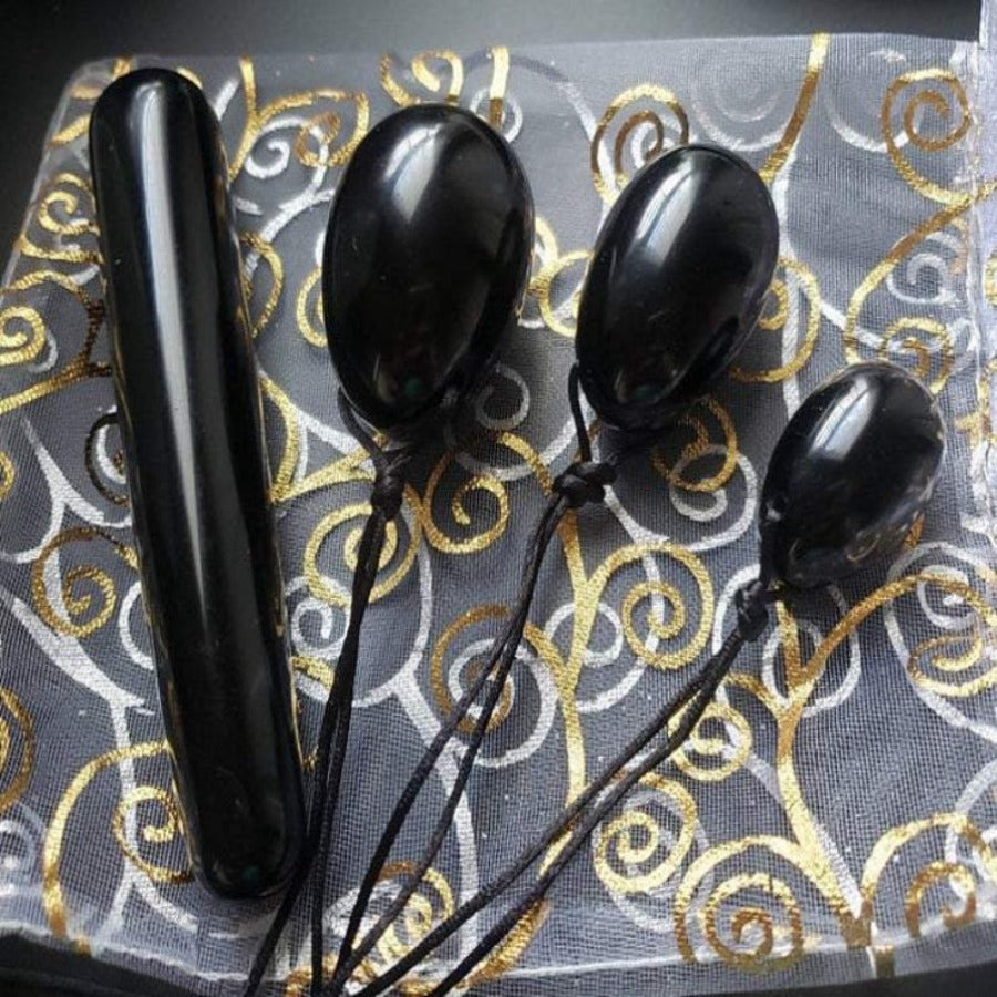 Yoni Wand and Egg Set, Black Obsidian Crystal Dildo