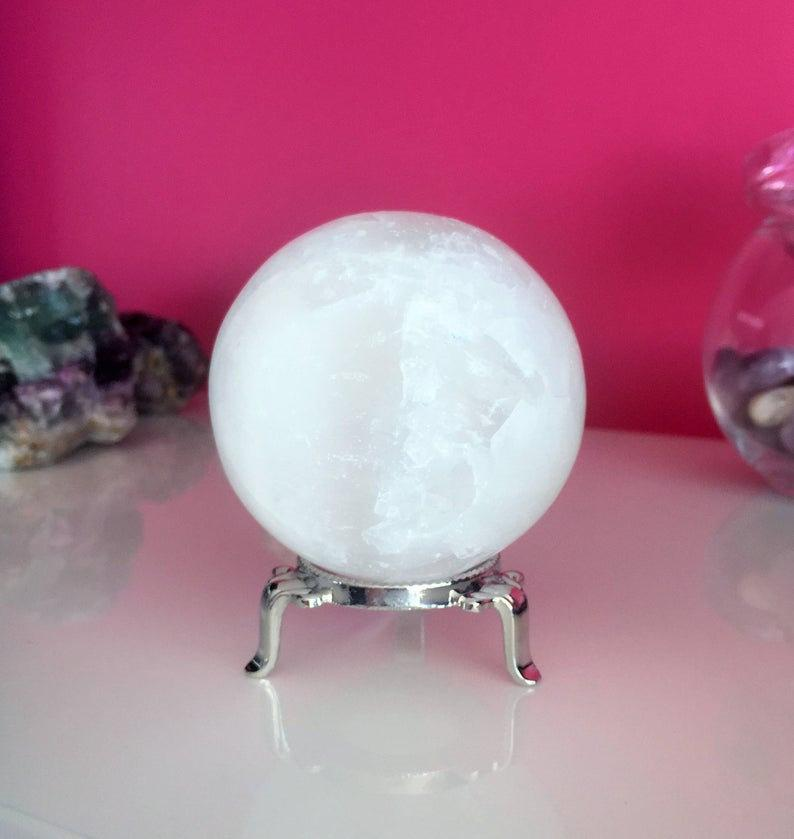 Large Crystal Ball Sphere with Stand