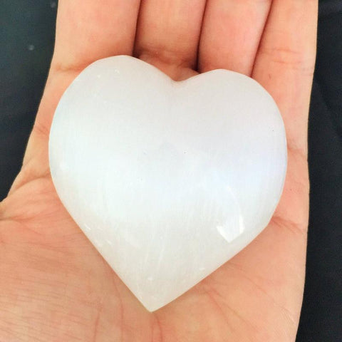 White Selenite Crystal Heart Jumbo
