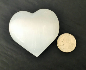 White Selenite Crystal Heart